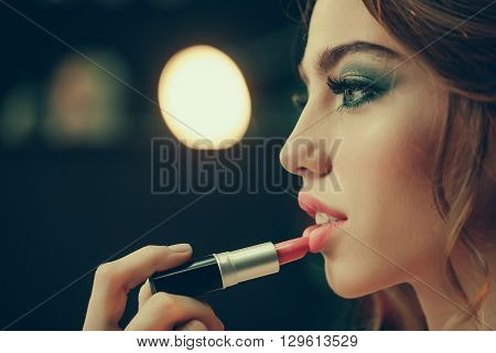 Girl With Red Lips And Lipstick