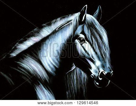 horse original oil painting on black velvet, impressionism thin brush oil painting on velvet drawing style, dark horse original fine art,