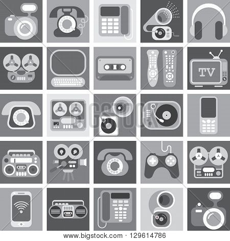 Collage of various greyscale vector images with a home electronics theme.