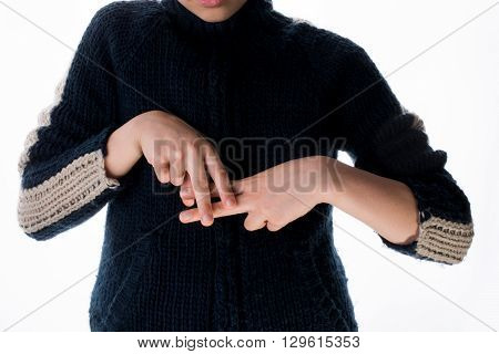Hand making a gesture on a white background