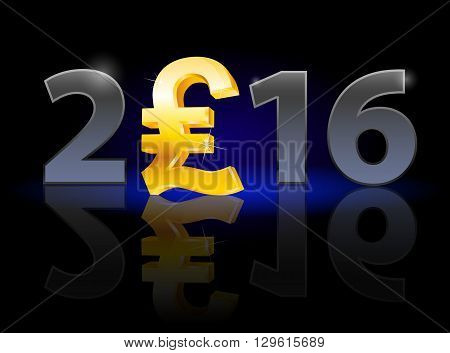 New Year 2016: metal numerals with english pound instead of zero having weak reflection