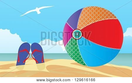 summer scene Flipflops and beachball in the sand