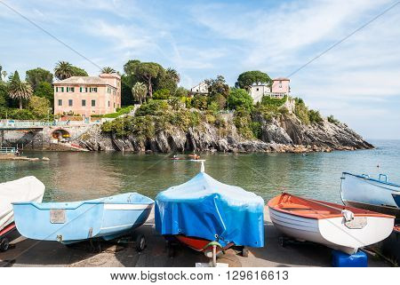 Fishing boats in the small harbor of Nervi a sea district of Genoa