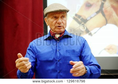 10 MAY. Portrait of the american horse specialist Monty Roberts aka 'The horse whisperer'. 81 years old Monty Roberts portrayed at an instructor event in Mezohegyes Hungary on 10 May 2016