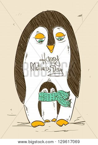 Illustration with cute penguin bird and chick. Happy Mother's day or Father's day greeting card. Parenthood concept.