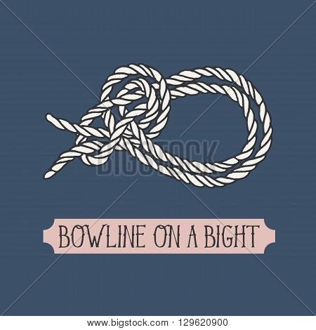 Single illustration of nautical knot. Bowline on a Bight. Sailor knot. Nautical rope sign. Artistic hand drawn element. Marine rope knot. Tying the knot. Graphic design element for invitations, cards