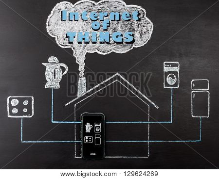 Internet of things concept hand drawn with chalk on blackboard. Mobile phone controlling kettle stove fridge and washing machine.