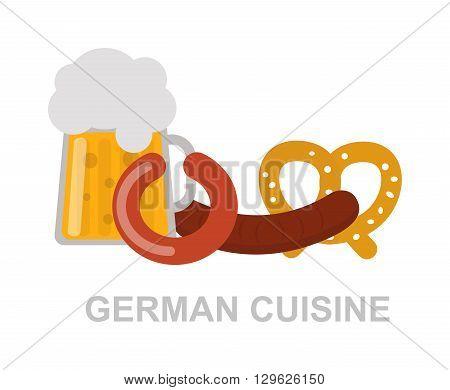 Oktoberfest beer mug german food and traditional german pretzels, german food. German food oktoberfest meat snack dinner and traditional dish german food. Sausage bavarian pork beer gourmet food.