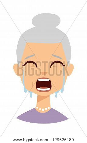 Portrait of old woman crying face and portrait sadness granny crying face. Crying face adult person unhappy depression woman and crying face old grandmother tearfully. Despair woman tears on face.