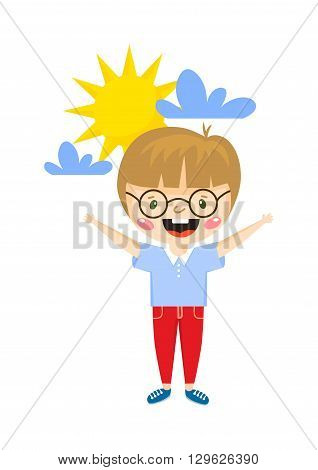 Happy boy cartoon and happy boy mile expression cheerful people. Happy boy vector and happy boy smiling beautiful face. Happy boy adorable schoolboy emotion little boy with open arms.