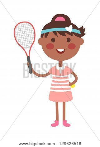 Full length portrait of young woman playing tennis field. Healthy lifestyle tennis player girl isolated and tennis player young girl. Tennis player girl character and sport tennis player girl.