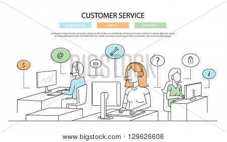 Illustration of vector modern line flat design customer service composition infographics elements with call center support team and its workplace