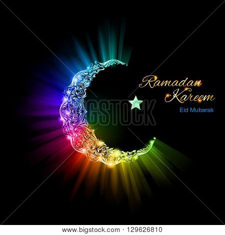 Ornate Moon Crescent and a single bright star in brilliant spectral flares and lights. Ramadan greeting postcard