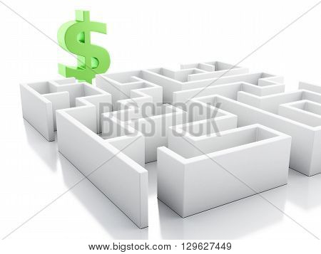 3d renderer image. White maze with dollar sign. Business concept. Isolated white background.