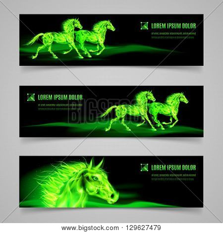 Set of banners with horses in green flame