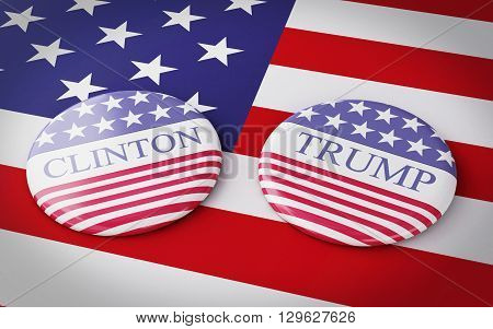 Buenos Aires Argentina - 12 MAY 2016: 3d Illustration of presidential campaign pins of Hillary Clinton and Donald Trump running for the president's office with US flag.