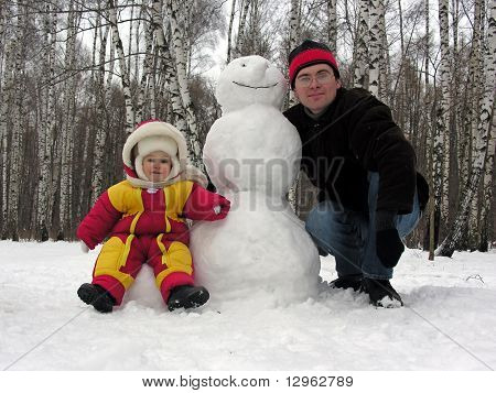 father, baby, snowman