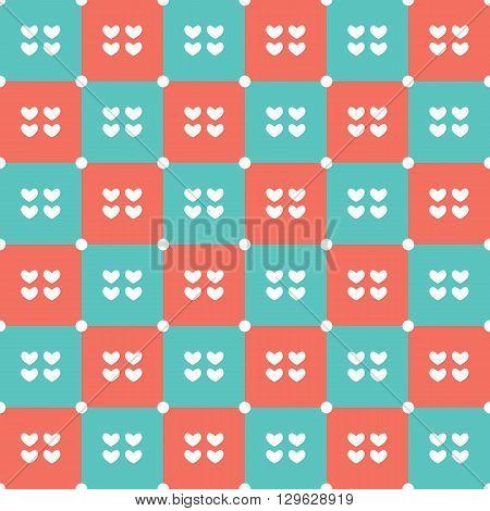 Duotone Hearts Seamless Pattern Vector Illustration. EPS 10