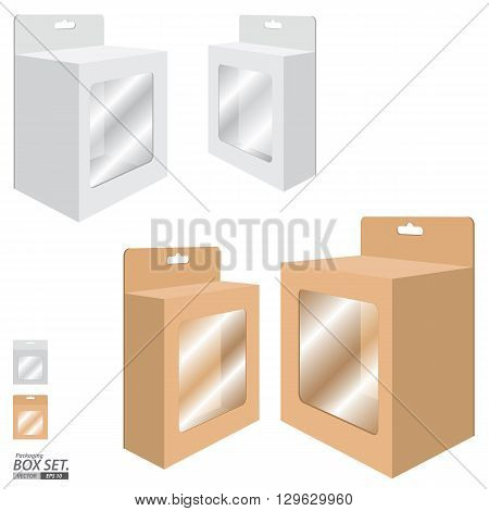 Packaging Box Design. White and Brown Box set for Paper isolated on white background.