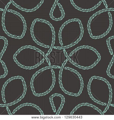 Abstract rope knot seamless pattern. Endless illustration with green rope ornament on black background. Trendy rope knot texture. Endless stylish backdrop. For fabric, wallpaper, wrapping.