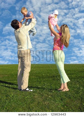 family with two children and cloudfield