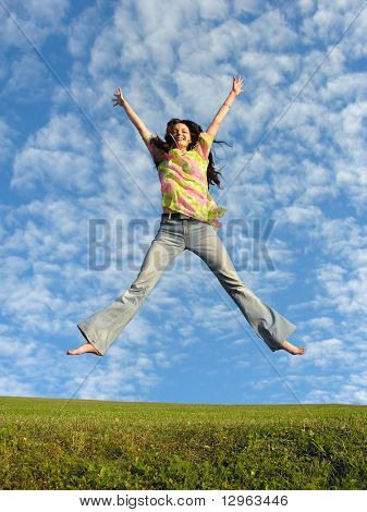 jump girl with hair under real cloudfield