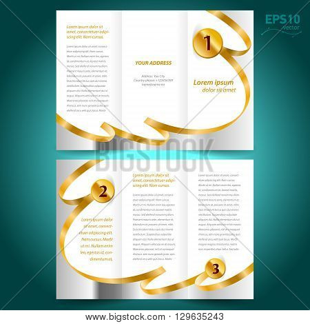 brochure design template vector folder leaflet award winner element ribbon gold color white background