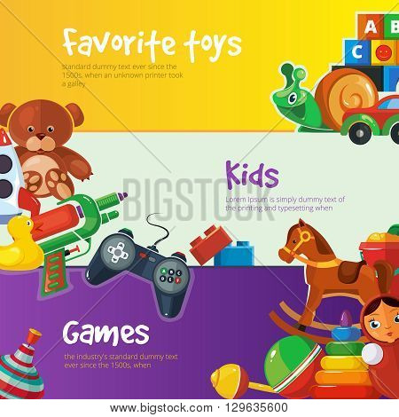 Toys icons for kids isolate on color background. Toys vector illustrations pack. Cartoon toys set for web banners with place for your text.