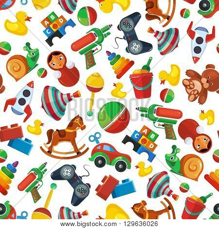 Toys seamless pattern for kids isolate on white background. Toys vector illustrations pack. Cartoon toys pattern