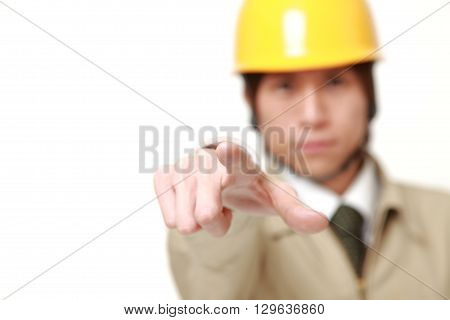 portrait of Japanese construction worker decided on white background poster