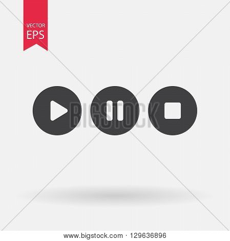 Vector of transparent play, pause and stop button icon on isolated background.