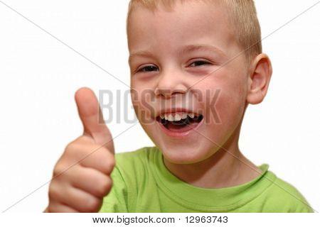smile boy with finger up