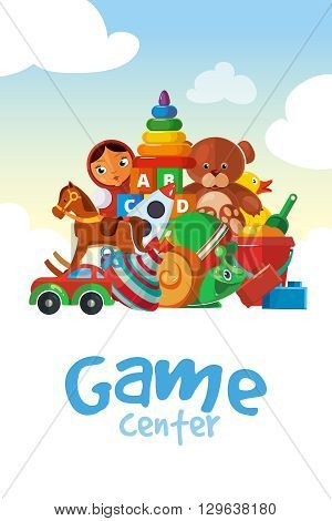 Toy kids. The board for the childrens game center. Vector illustration of toys with place for your text.