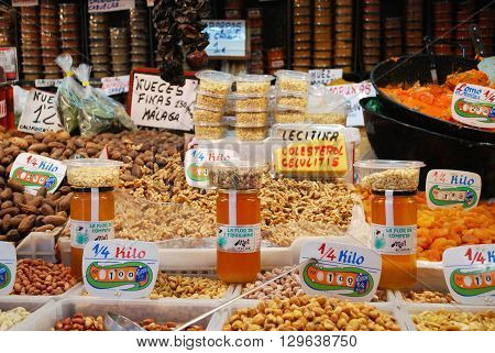 MALAGA, SPAIN - JULY 11, 2008 - Snack stall in the indoor market (Mercado de Atarazanas) Malaga Malaga Province Andalucia Spain Western Europe, July 11, 2008.