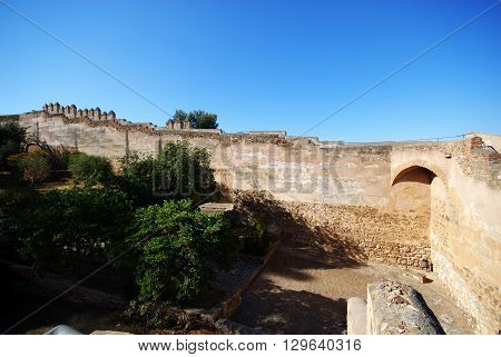Gibralfaro castle battlements seen from inside the castle Malaga Malaga Province Andalucia Spain Western Europe.