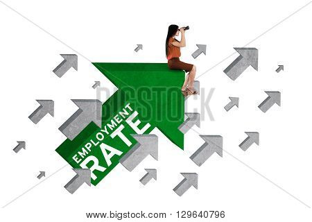 Picture of female work seekers using binoculars while sitting on the arrow sign with employment rate text