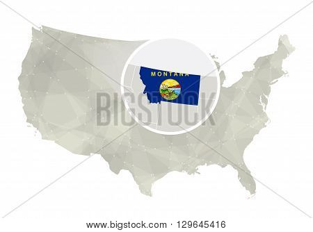 Polygonal Abstract Usa Map With Magnified Montana State.