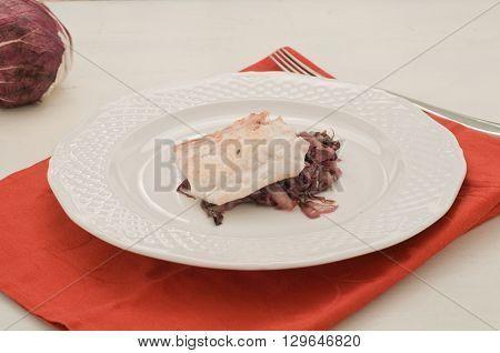 Fish bream with red radicchio di Treviso