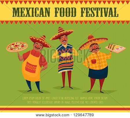 Mexican food. Chef with pizza and tacos. Mexican food festival poster. Man in Mexican national costume. Vector character in cartoon style. Banner of mexican food. National food from Mexico. Mexican people concept. Mexican food festival.