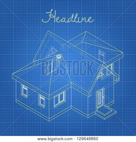 Drawing of the home on a blue background