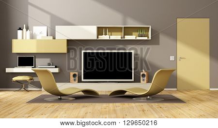Contemporary Lounge With Tv Set