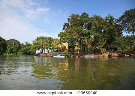 house on the island at the lake Nicaragua