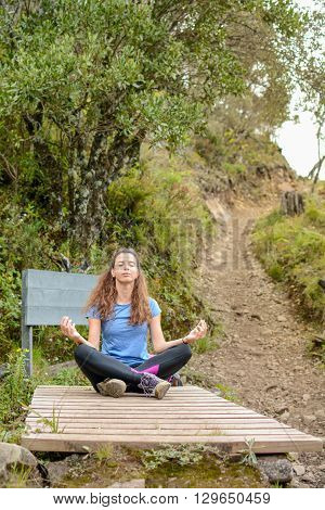 female hiker doing yoga on hiking trip poster