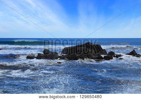 basalt reefs on the Pacific coast. Nicaragua