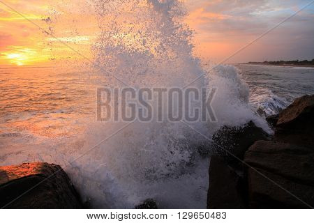sunset on the tropical coast of the Pacific Ocean