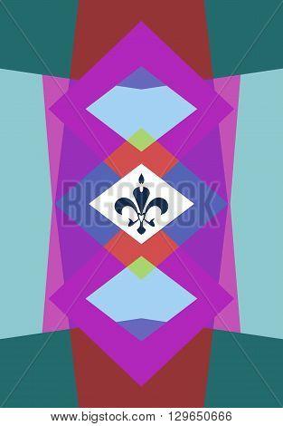 Colored shape background with fleur de lis ornament. Polygonal wallpaper or pattern