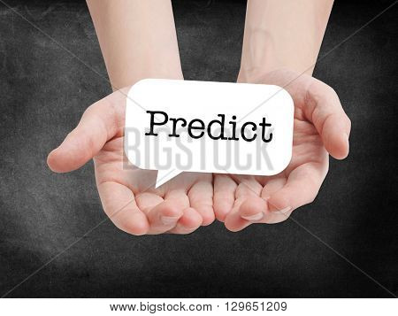 Predict written on a speechbubble