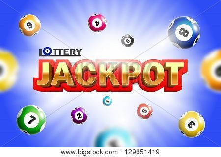 Lottery Jackpot background with colorful realistic balls.