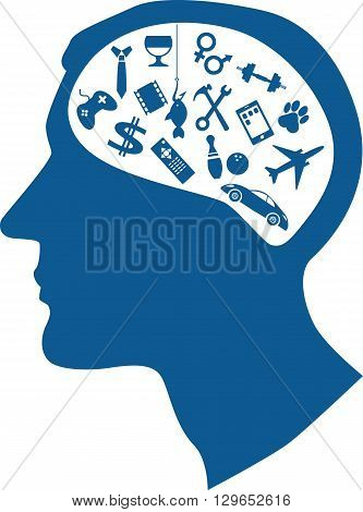Male profile filled with assorted symbols of men's interests representing male mind or way of thinking