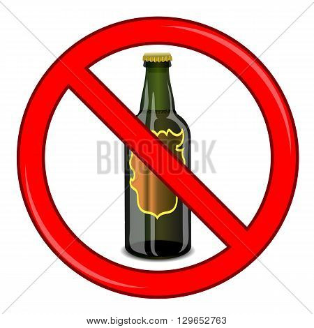 No Beer Sign Isolated on White Background. No Alcohol Allowed Sign.